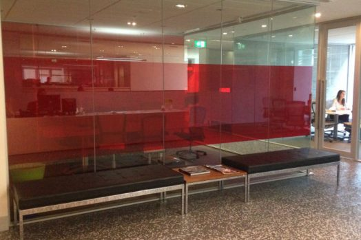 Privacy Window Film - commercial red window film on meeting room