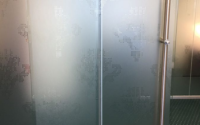 Frosted window film meeting room door