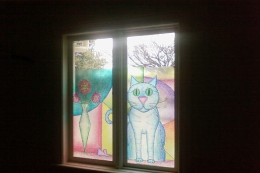 decorative window film Melbourne residential cat