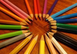 colored pencils - choosing office design color scheme